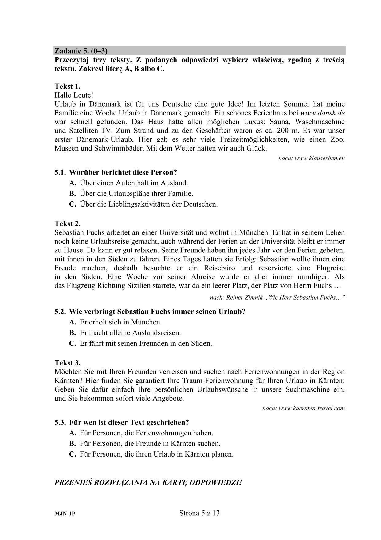 jezyk niemiecki matura 2021 odpowiedzi
