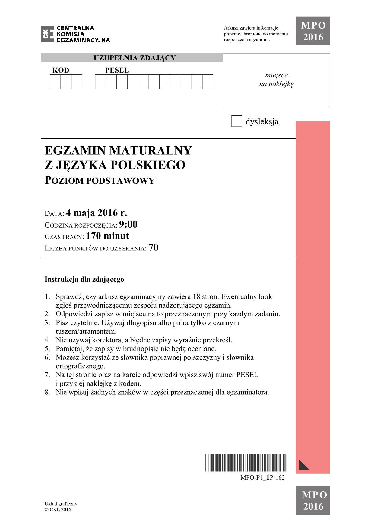 język polski matura 2018 odpowiedzi