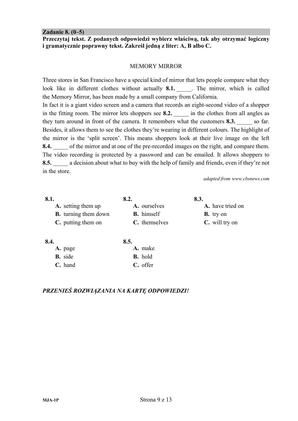 matura 2011 angielski podstawowy odpowiedzi